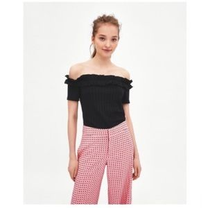 Zara Off Shoulder Black Ruffled Top